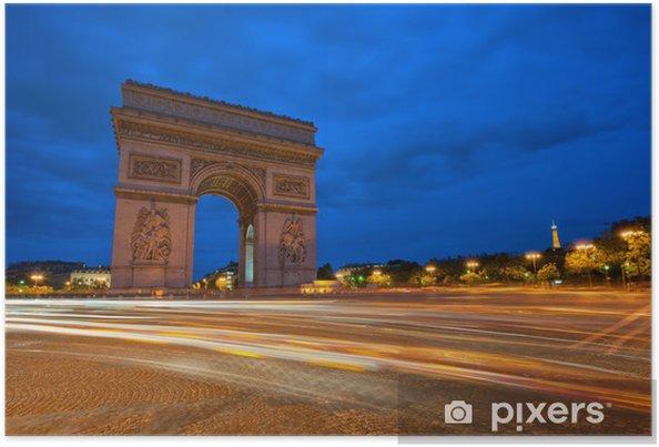 Plakát Arc de Triomphe v noci, Paříž, Francie. - Evropská města