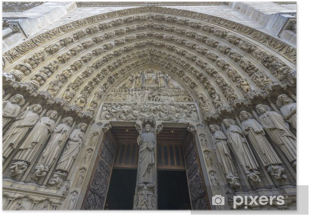 Plakát Architektonický detail Notre-Dame de Paris vchodem - Památky