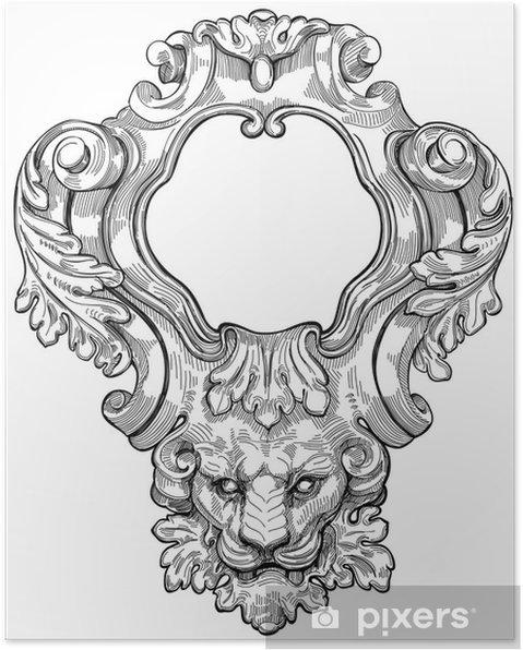 Plakat Archiwalne ramki i głowa lwa. Ilustracja wektorowa - Sztuka i twórczość