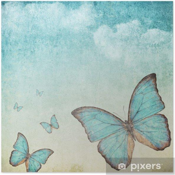 Plakat Archiwalne tła z niebieskim motylem - Style