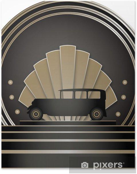 Plakat Art Deco Odznaka chlew - Tła