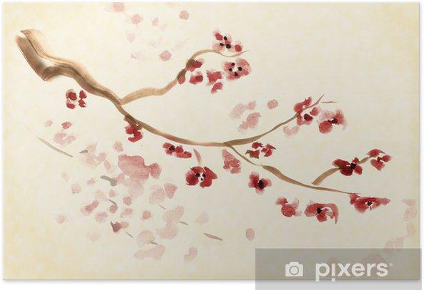 Plakat Artystyczne plum blossom - Drzewa