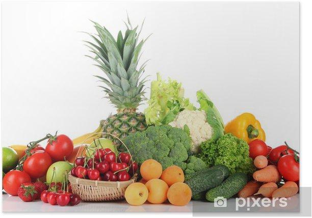 Plakat Asortyment świeżych owoców i warzyw, samodzielnie na białym tle - Warzywa