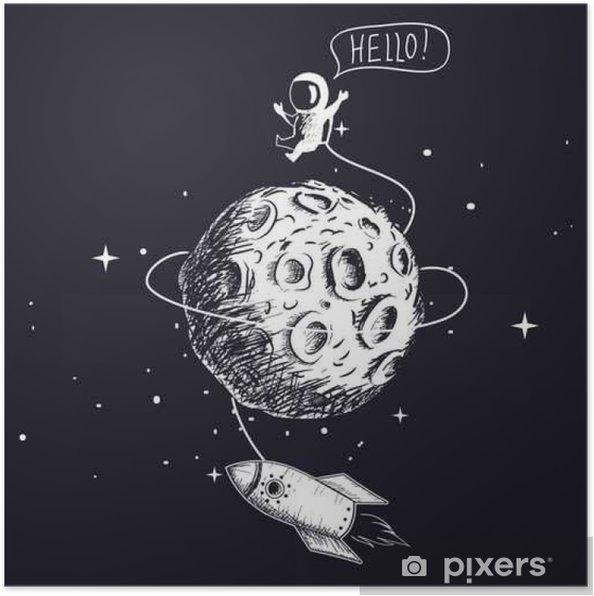 Plakat Astronauta z kosmicznym i księżyca - Hobby i rozrywka
