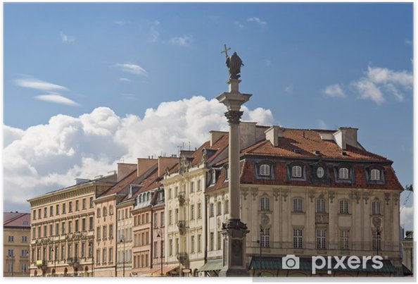 Plakat Atrakcje Turystyczne Polski Warszawa Stare Miasto W Cieniu Zamku Królewskiego