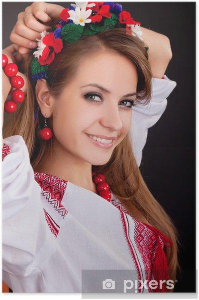 Plakát Atraktivní žena nosí ukrajinské národní oblečení - Žena
