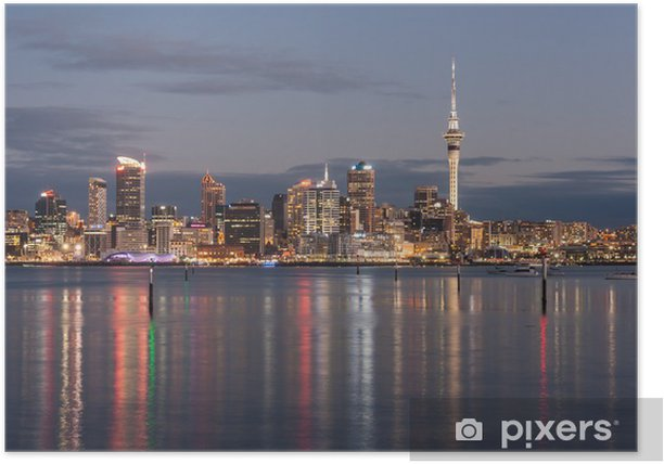 Plakat Auckland miasta w nocy - Oceania