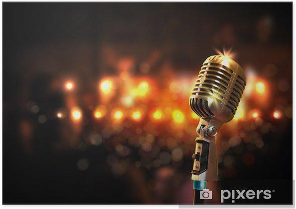 Plakat Audio mikrofon stylu retro - Muzyka