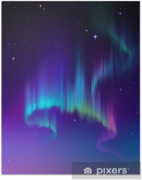 Plakát Aurora Borealis na obloze, abstraktní světla ilustrace - Témata