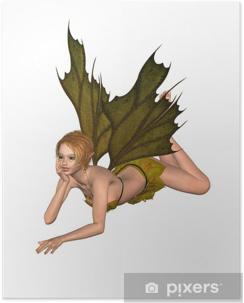 Plakát Autumn Leaf Fairy - lenošení - Nálepka na stěny