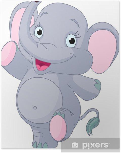 Plakát Baby elephant tanec - Nálepka na stěny