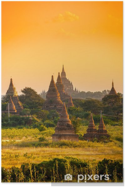 Plakát Bagan při západu slunce, Myanmar. - Asie