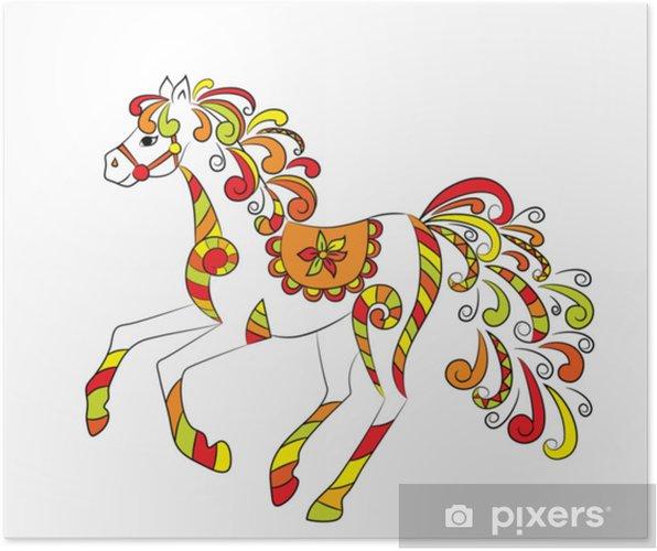 Plakat Bajkowy koń folklorystyczny - Zwierzęta