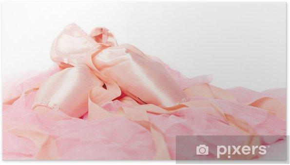 691d27e60ea Plakát Baletní boty na růžové tkaniny izolované • Pixers® • Žijeme ...
