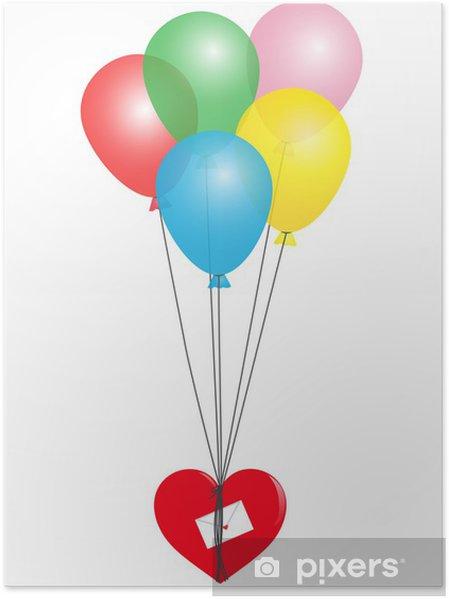 Plakát Balónky s červeným srdcem a Love Letter - Mezinárodní svátky