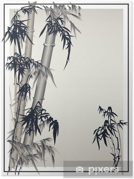 Plakat Bamboo wektor w tradycyjnym stylu azjatyckim. - Tła