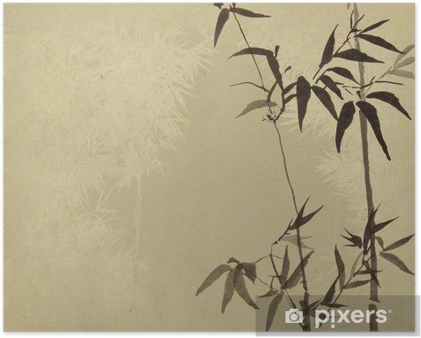 Plakát Bambus na staré grunge starožitných papír textury. - Témata