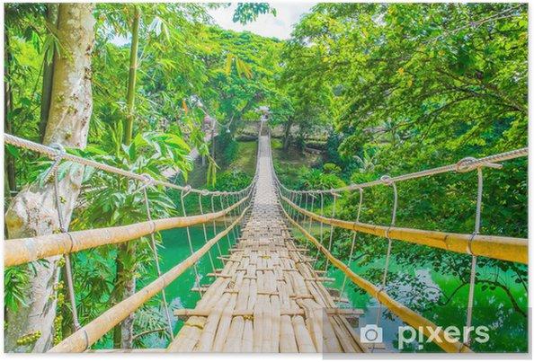 Plakat Bambus zawieszenie most dla pieszych nad rzeką - Tematy