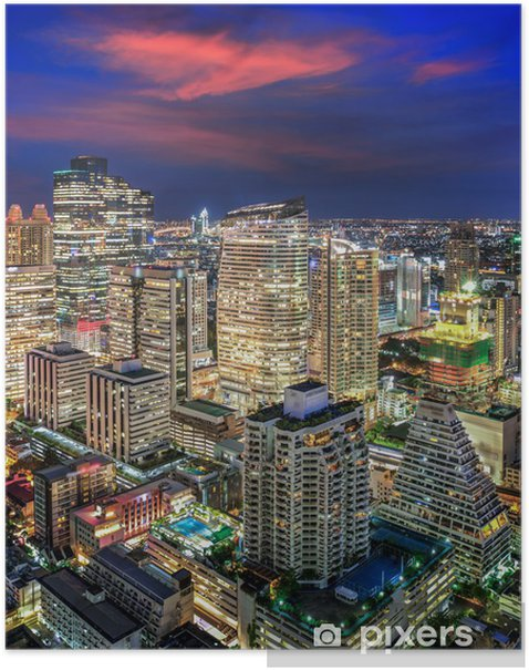Plakát Bangkok noční město - Asie