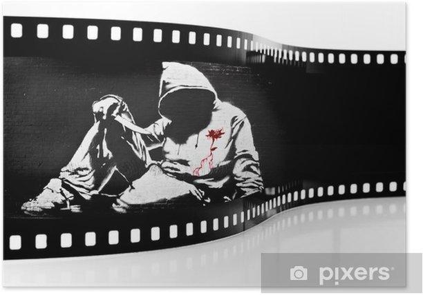 Plakat Banksy Hoodie nożem Graffiti Film Strip - Znaki i symbole