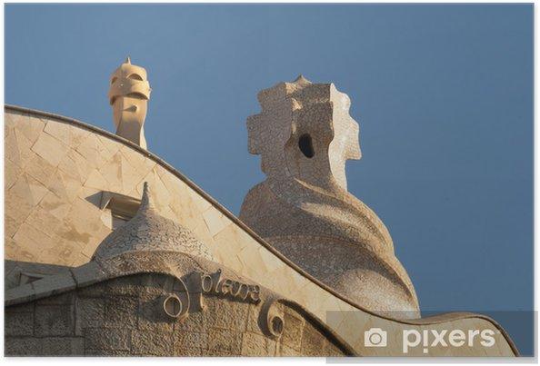 Plakát BARCELONA, ŠPANĚLSKO střecha La Pedrera a Casa Mila Gaudího - Soukromé budovy