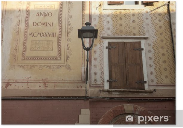 Plakat Bardolino, zabytkowe budynki starego miasta - Europa