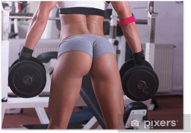 Plakat Bardzo sexy młodych piękne tyłek w stringach w klubie siłowni - Zdrowie