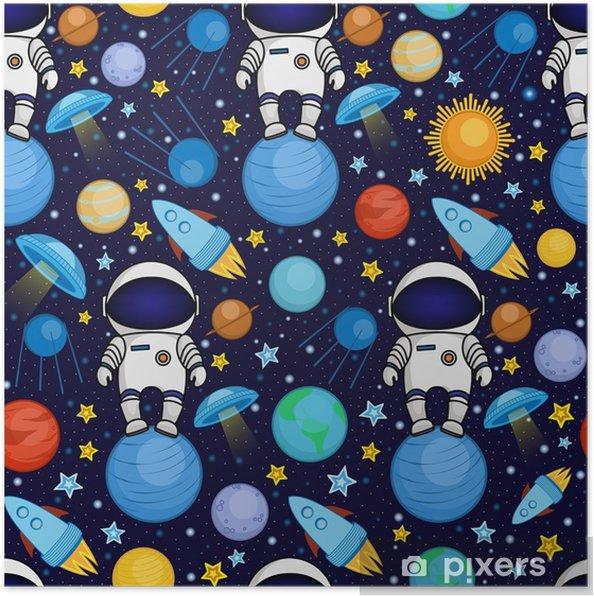 Plakat Barevne Bezesve Kresleny Vesmirny Vzor S Astronauty Rakety