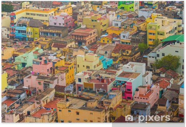 Plakát Barevné domy Indian město Trichy, Tamil Nadu - Asie