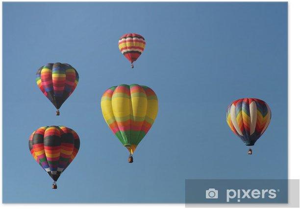 Plakát Barevné horkovzdušné balóny plovoucí proti modré obloze - Vzduch