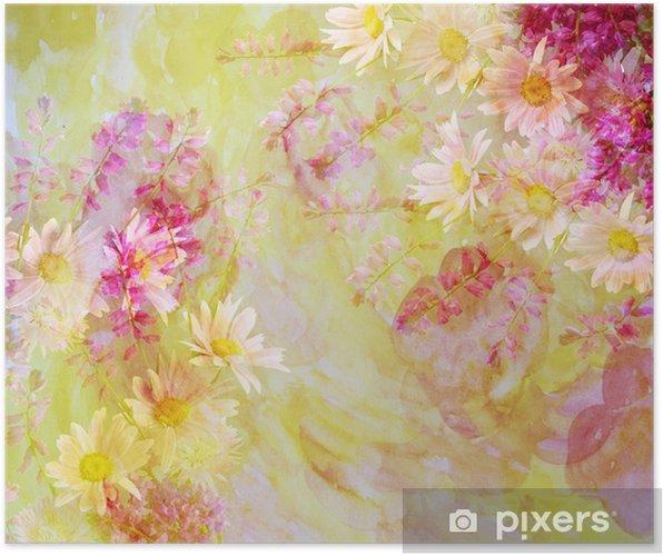 Plakát Barevné květinové pozadí se s barevnými filtry, waterc - Pozadí