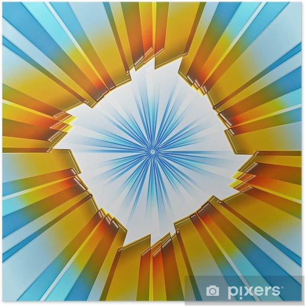 Plakát Barevné modrá, žlutá, oranžová, hnědá Abstrakt futurista exploze - Pozadí
