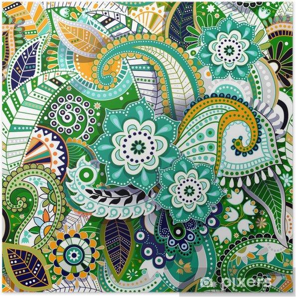 Plakát Barevné paisley bezešvé vzor. původní dekorativní pozadí - Rostliny a květiny