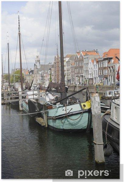Plakat Barka na jasny niebieski Voorhaven, Rotterdam - Europa