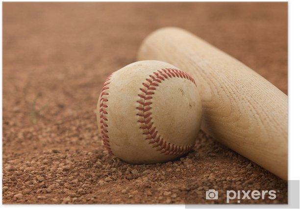 Plakat Baseball i Bat na pole bramkowe - Sporty drużynowe