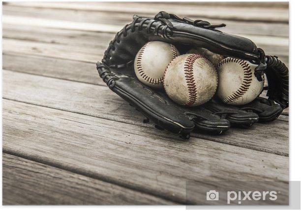 Plakat Baseball mitt na drewnianych tle - Sporty drużynowe