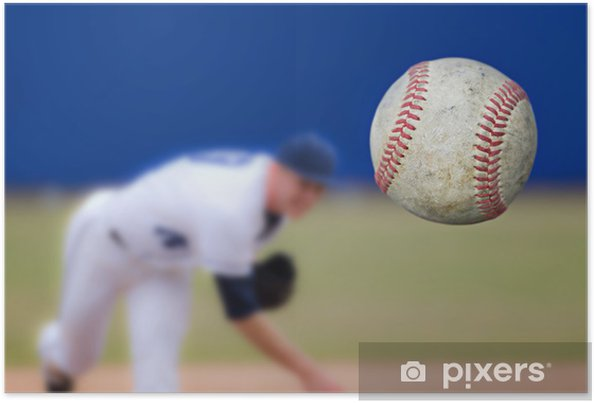 Plakat Baseballu Rzucanie piłka, selektywne fokus - Sporty drużynowe