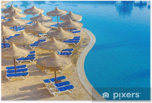 Plakat Basen, parasole i Morze Czerwone w Egipcie - Wakacje