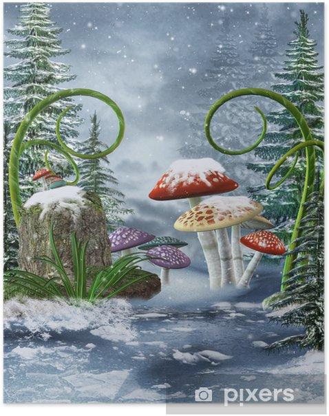 Plakát Baśniowa łąka z kolorowymi grzybami Zíma - Roční období