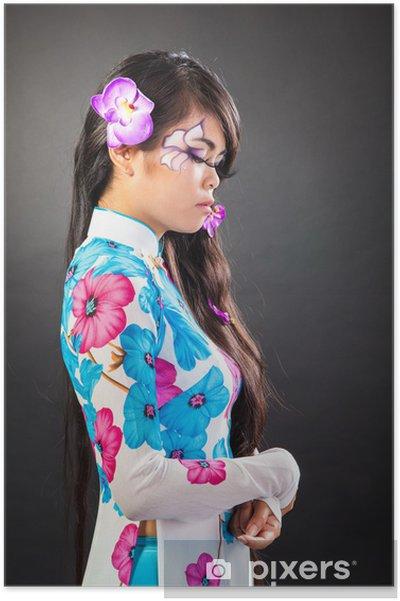 Plakat Beautiful asian kobieta z makijażu mody - Kobiety