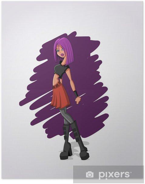 Plakat Beautiful sexy Rock Girl cartoon z fioletowym włosy - Kobiety