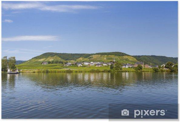 Plakat Beilstein na rzece Mozeli, Niemcy - Woda