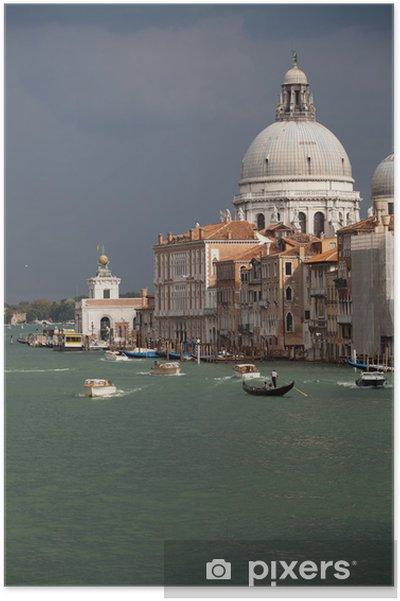 Plakát Benátky - pohled na Canal Grande a Salute před bouří - Evropská města