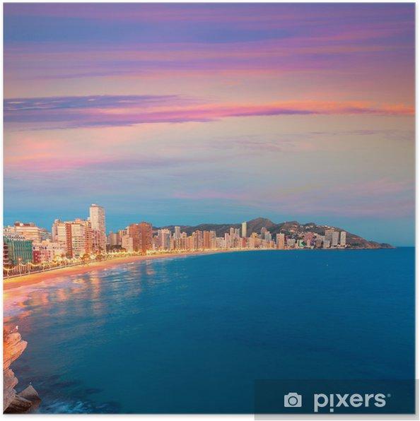 Plakat Benidorm słońca Alicante Playa de Levante plaży zachód słońca w Hiszpanii - Europa