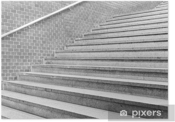 Plakat Betonowe schody i mur z cegły w stacji metra - Budynki i architektura