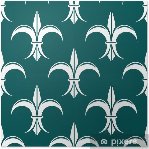 Plakat Bez szwu fleur-de-lis biały wzór królewski - Tła