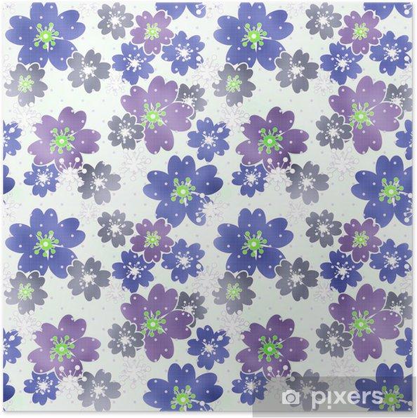 Plakat Bez szwu kwiatowy wzór tekstury na tle światła - Tła