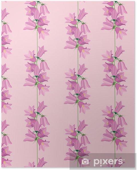 Plakat Bez Szwu Tła Z Różowe Kwiaty Dzwonki Druku