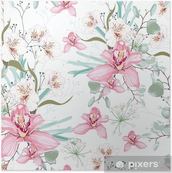 Plakat Bez Szwu Tropikalnych Z Raju Kwiat Orchidei W Rozkwicie Nowoczesny Projekt Wiosennego Letniego Druku Białe Tło Tło Wesele Czułości