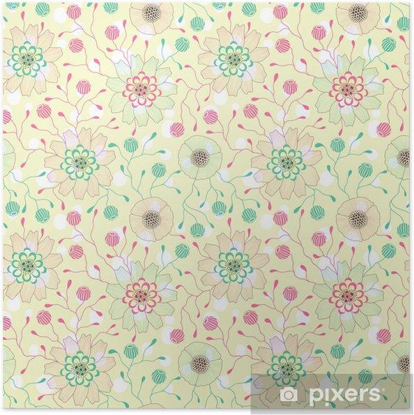 Plakát Bezešvé květinový vzor - Pozadí